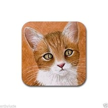 Rubber Coasters set of 4, from art painting Cat 360 by L.Dumas - $13.99