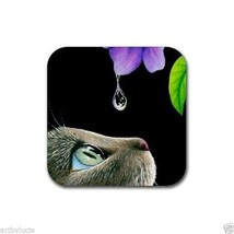 Rubber Coasters set of 4, from art painting Cat 409 by L.Dumas - $13.99