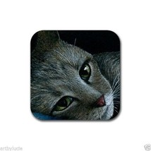 Rubber Coasters set of 4, from art painting Cat 420 by L.Dumas - $13.99