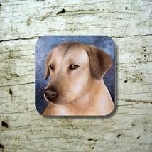 Rubber Coasters set of 4, Dog 124 Yellow Labrador Art painting L.Dumas - $13.99