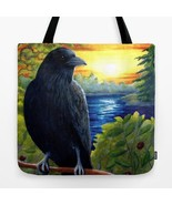 Tote Bag All over print Made in USA Bird 63 Crow Raven art painting by L... - $26.99+