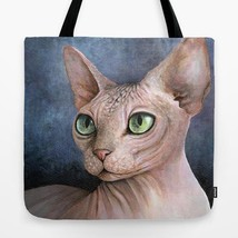 Tote Bag All over print Made in USA Cat 578 Sphinx Sphynx art painting L... - $26.99+