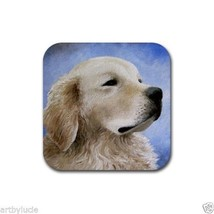 Rubber Coasters set of 4 from art painting Dog 98 Golden Retriever - $13.99