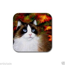 Rubber Coasters set of 4, from art painting Cat 566 Fall Autumn - $13.99