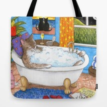 Tote Bag funny Cat 567 in Bath All over print Made in USA art painting L... - $26.99+