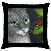 Black Throw Pillow Case from Art painting Cat 543 ladybug by L.Dumas - €20,39 EUR