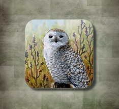 Rubber Coasters set of 4, Bird 65 Owl from art painting by L.Dumas - $13.99