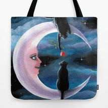 Tote Bag All over print Made in USA black Cat 581 Moon art painting by L... - $26.99+