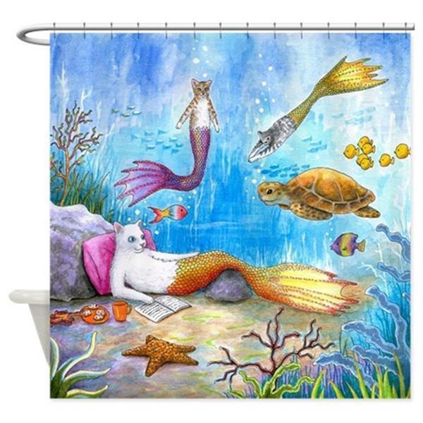 Sea Life Turtle Wave Rug2 Bath Mat: Shower Curtains Bathroom Decor Cat Mermaid 31 Sea Turtle