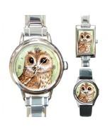 Italian Charm Metal Watch Bird 57 Owl art paint... - $15.99 - $16.99