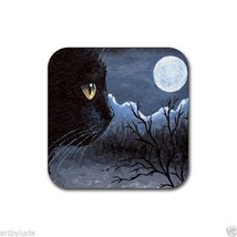 Rubber Coasters set of 4, from art painting black Cat 534 by L.Dumas - $13.99