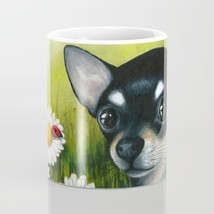 Coffee Mug 11oz 15oz Made USA Dog 79 black Chihuahua Ladybug Daisy art L... - $19.99+