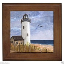 Framed Tile from original art painting Sea View 222 lighthouse by L.Dumas - $18.50