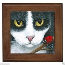 Framed Ceramic Tile tuxedo Cat 542 ladybug, fro... - $18.50