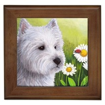 Framed Ceramic Tile Dog 83 White Westie Ladybug... - $18.50
