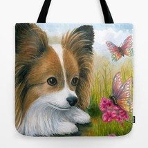 Tote Bag All over print Made in USA Dog 123 Papillon art painting by L.D... - $26.99+