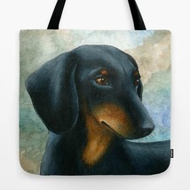 Tote Bag All over print Made in USA Dog 90 Dachshund art painting by L.D... - $26.99+