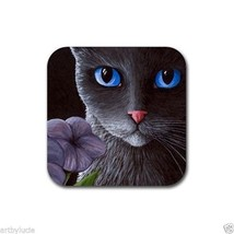 Rubber Coasters set of 4, from art painting Cat 550 flower by L.Dumas - $13.99