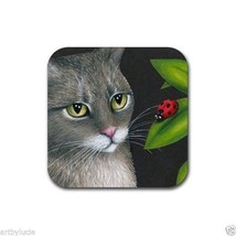 Rubber Coasters set of 4, from art painting Cat 543 ladybug by L.Dumas - $13.99