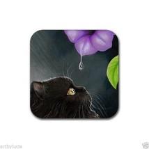 Rubber Coasters set of 4, from art painting Cat 514 black Persian L.Dumas - $280,68 MXN