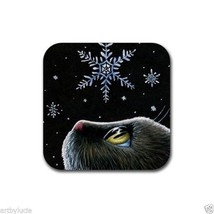 Rubber Coasters set of 4, from art painting Cat 532 Snowflakes by L.Dumas - $13.99