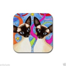 Rubber Coasters set of 4, from art painting Siamese Cat 480 by L.Dumas - $13.99