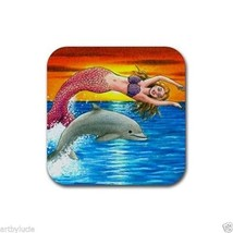 Rubber Coasters set of 4, from art painting Mermaid 5 dolphin fantasy L.... - $13.99