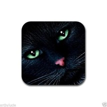 Rubber Coasters set of 4, from art painting black Cat 319 by L.Dumas - $13.99