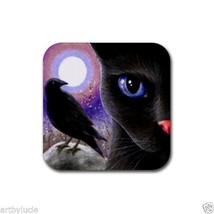 Rubber Coasters set of 4, black Cat 570 crow raven moon art painting by ... - $13.99