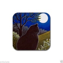 Rubber Coasters set of 4, from art painting black Cat 544 moon by L.Dumas - $13.99