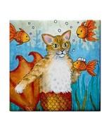 Large Ceramic Tile Coaster 6x6 inches Made USA Cat Mermaid 27 art L.Dumas - $22.99