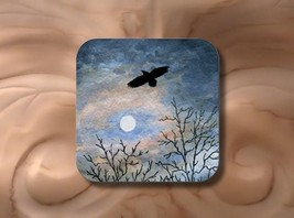 Rubber Coasters set of 4, Landscape 458 Crow Raven from art painting by ... - $13.99