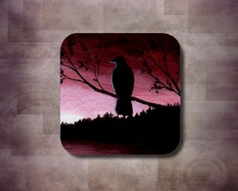 Rubber Coasters set of 4, Bird 66 Crow Raven from art painting by L.Dumas - $13.99