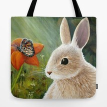 Tote Bag Hare 55 Rabbit Butterfly All over print Made USA art painting L... - $26.99+