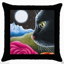 Black Throw Pillow Case from art painting Cat 530 moon, flower by L.Dumas - €20,39 EUR