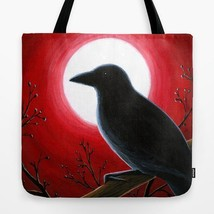 Red Tote Bag Bird 62 Crow Raven All over print Made in USA art painting ... - $26.99+