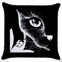 Black Throw Pillow Case from art painting B/W Cat 510 ladybug L.Dumas - €20,39 EUR
