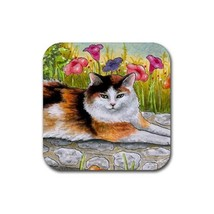 Rubber Coasters set of 4, Cat 595 Tortoiseshell Tortie art painting L.Dumas - $13.99
