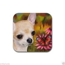 Rubber Coasters set of 4 from art painting Dog 85 Chihuahua Butterfly Ec... - $13.99