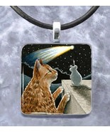 Glass pendant 1x1 inch handmade necklace Cat 46... - $12.99