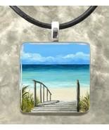 Handmade glass pendant 1x1 necklace Sea View 14... - $12.99