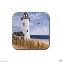 Rubber Coasters set 4, from art painting Sea View 222 lighthouse Ocean L... - $13.99