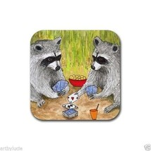 Rubber Coasters set of 4, from art painting Raccoon 14 playing cards L.D... - $13.99