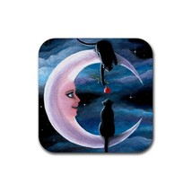 Rubber Coasters set of 4, black Cat 581 or 580 moon fantasy art painting... - $10.99