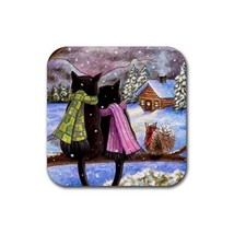 Rubber Coasters set of 4, black Cat 585 squirrel winter art painting L.D... - $13.99