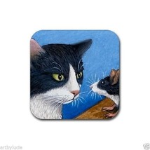 Rubber Coasters set of 4, from art painting Cat 322 mouse rat by L.Dumas - $13.99