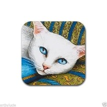 Rubber Coasters set of 4, from art painting white Cat 302 by L.Dumas - $13.99