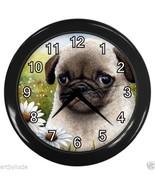 Black Wall Clock Dog 114 Puppy Pug daisy from o... - $25.99