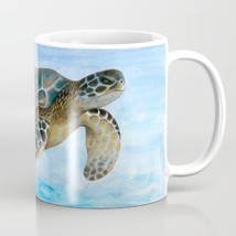 Coffee Mug Cup 11oz 15oz Made USA Sea Ocean Turtle 1 Blue watercolor art... - $19.99+
