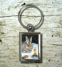 Key chain Keychain Rectangle Hare 20 rabbit bun... - $14.99